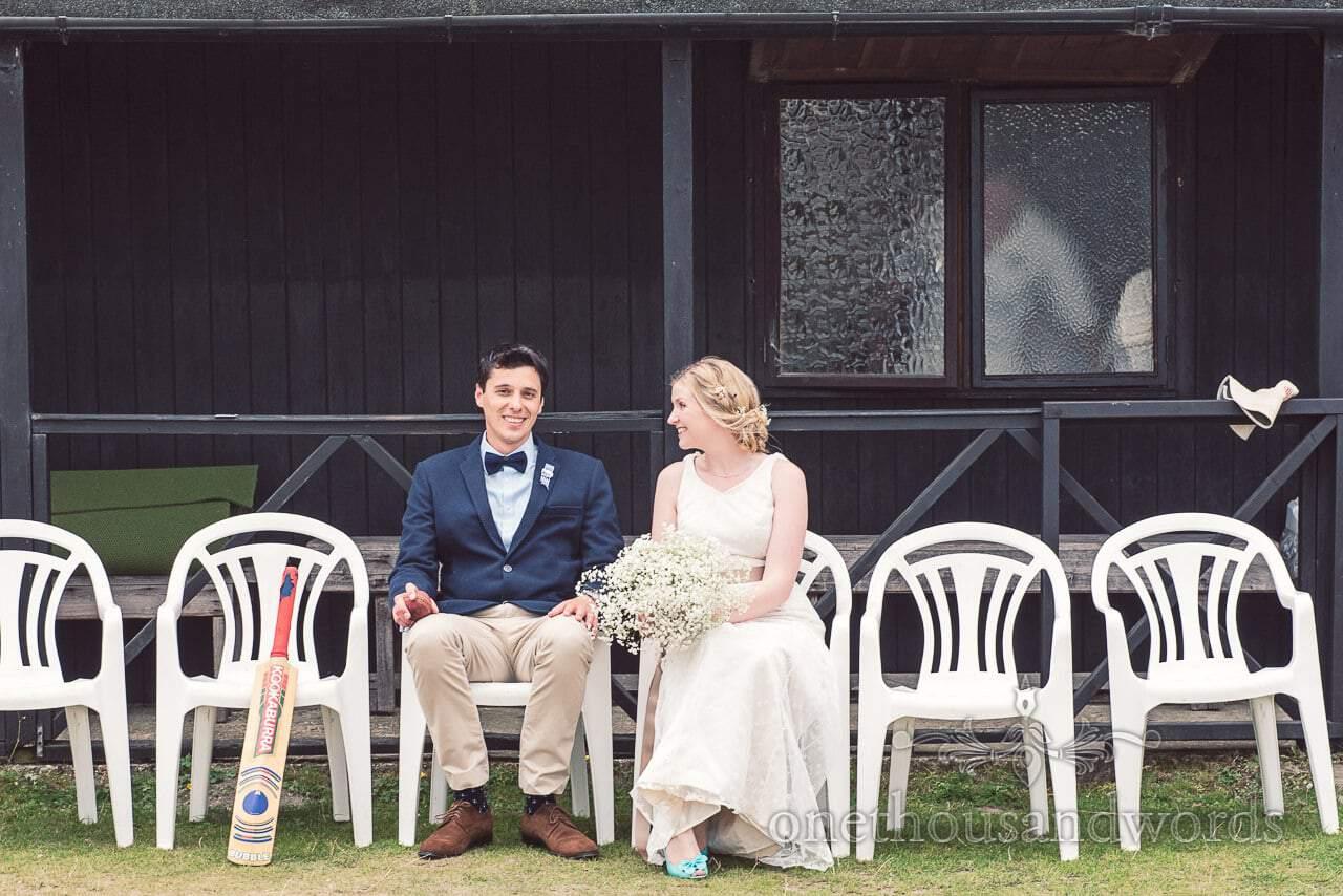 Bride and groom at Brockenhurst Cricket Club