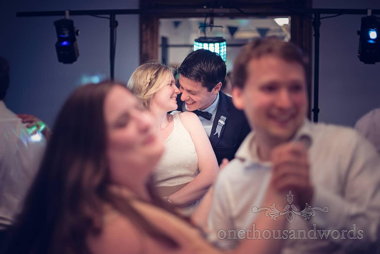 Bride and groom on dance floor at Balmer Lawn Hotel Wedding