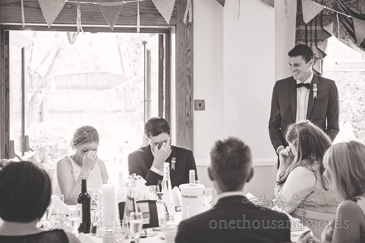 Bride and groom react to best man's speech at Balmer Lawn Hotel Wedding Speeches