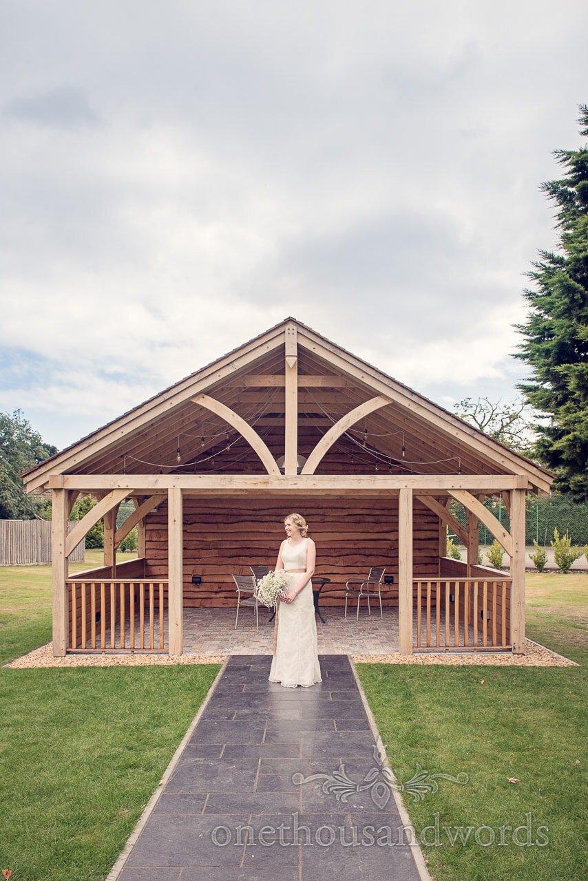 Bride with oak beamed Wedding Pavilion at Balmer Lawn Hotel Wedding