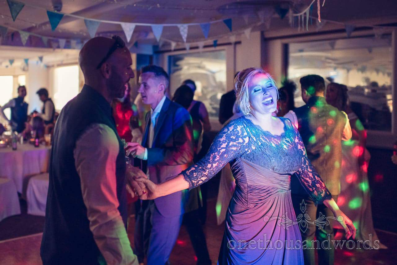 Bridesmaid dancing at wedding disco at Harbour Heights Hotel Wedding