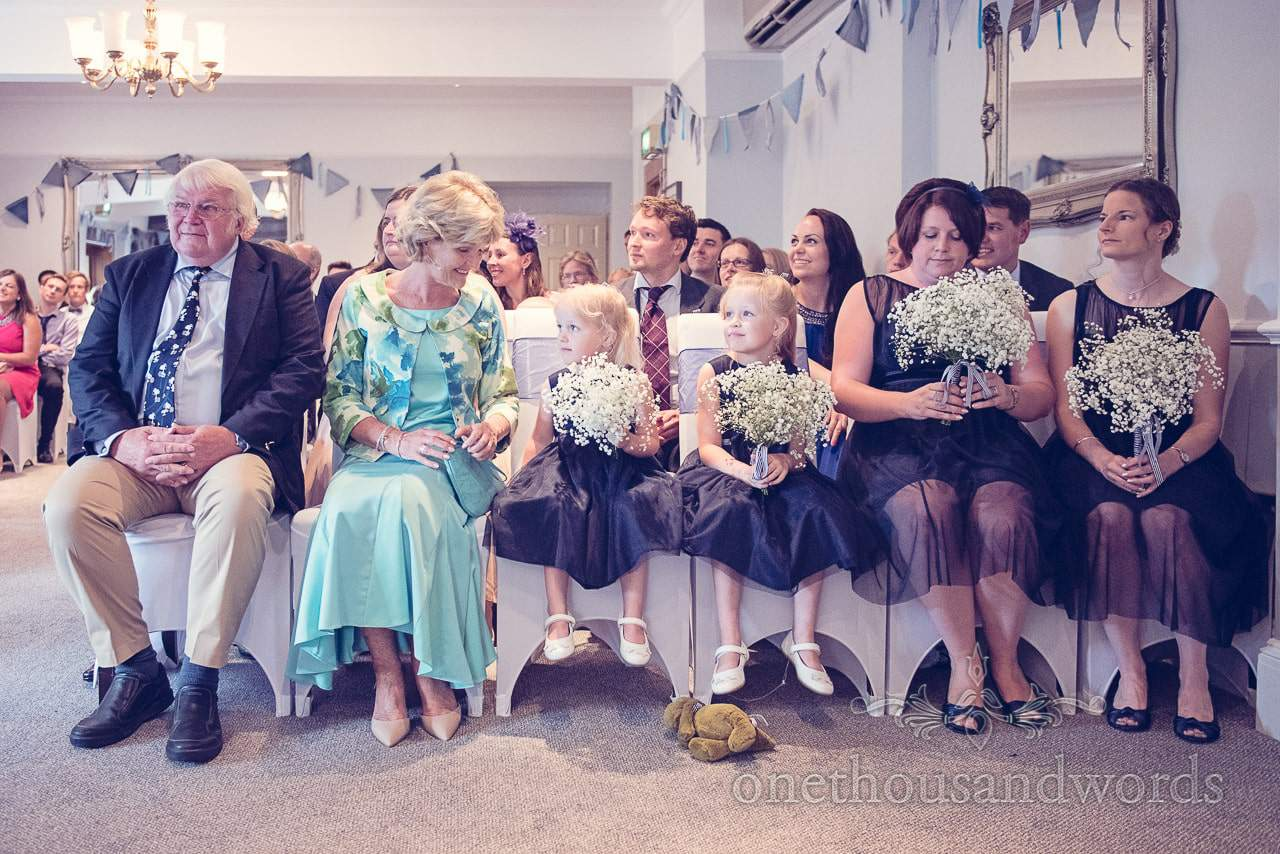 Bridesmaids in blue dresses with gypsophila bouquets at Balmer Lawn Hotel Wedding