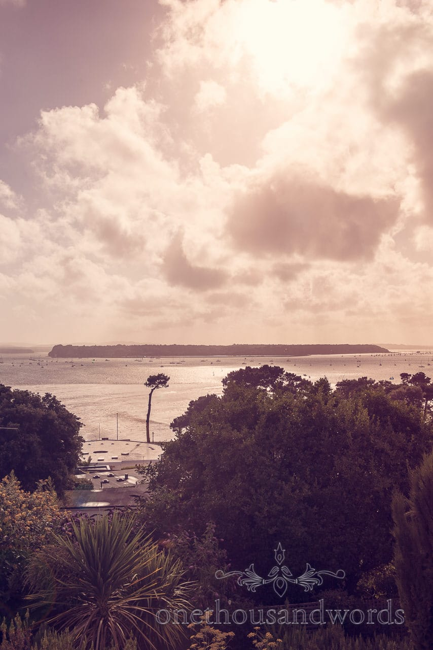 Brownsea Island view in evening from Harbour Heights Hotel Wedding venue
