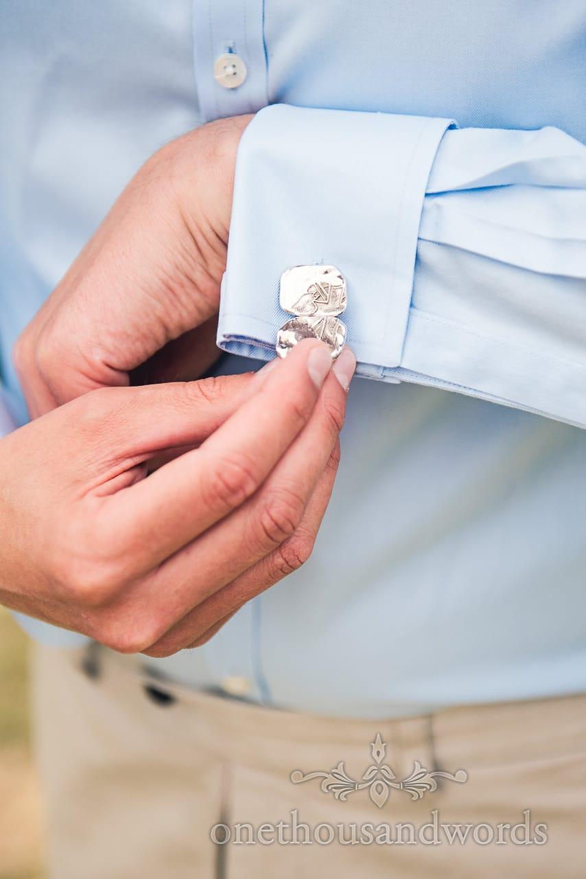 Custom made silver wedding cufflinks with blue wedding shirt