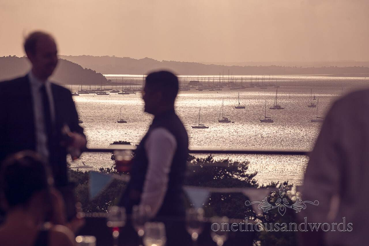 Evening view across Poole Harbour from Harbour Heights Hotel Wedding venue