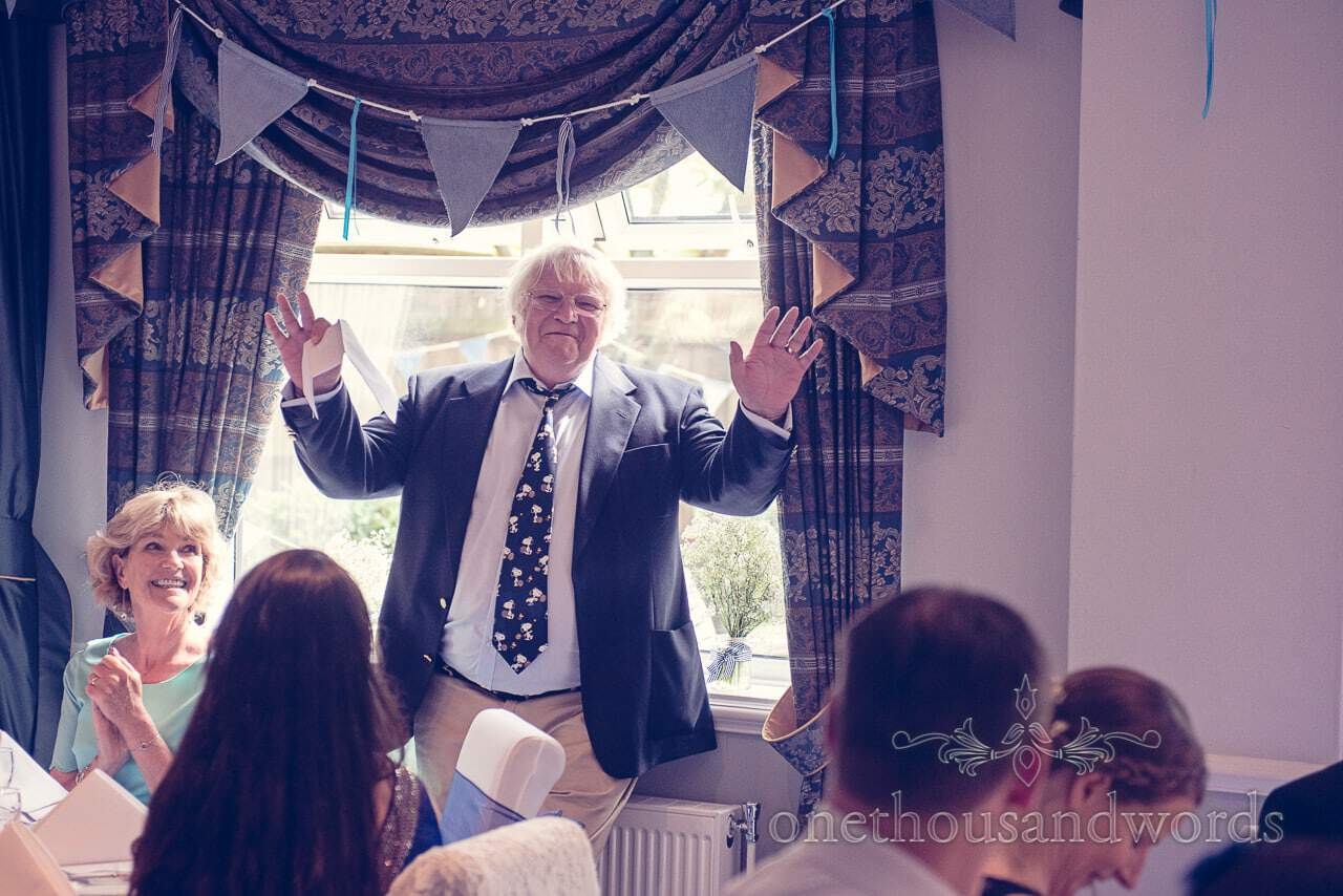 Father of the bride calls for silence during Balmer Lawn Hotel Wedding speeches