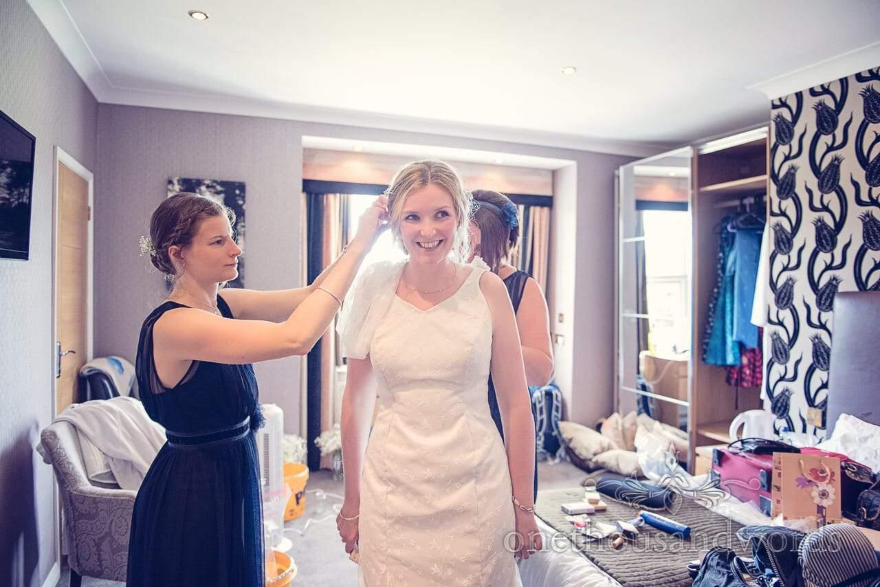 Finishing touches to bridal preparation at Balmer Lawn Hotel Wedding
