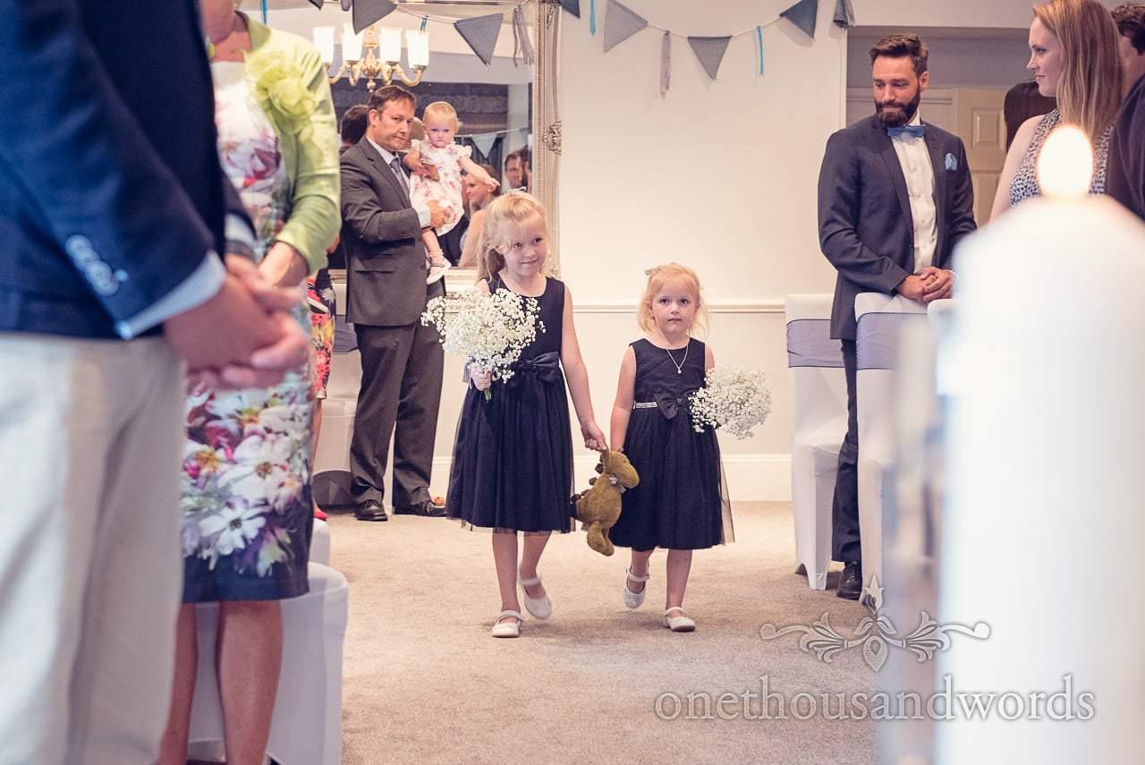 Flower girls in blue dresses with gypsophila Balmer Lawn Hotel Wedding ceremony