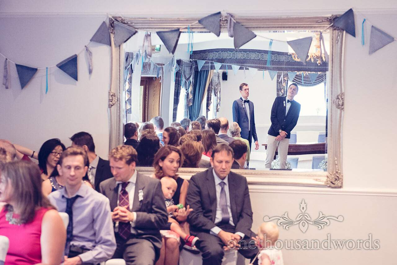 Groom and best man waiting at Balmer Lawn Hotel Wedding ceremony