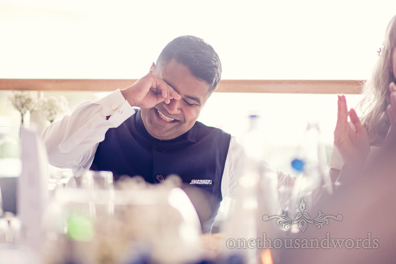 Groom laughs at Harbour Heights Hotel Wedding speeches
