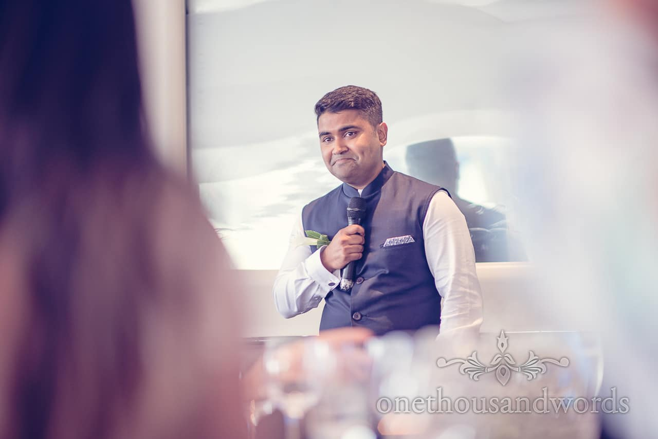 Groom's speech photograph at Harbour Heights Hotel Wedding