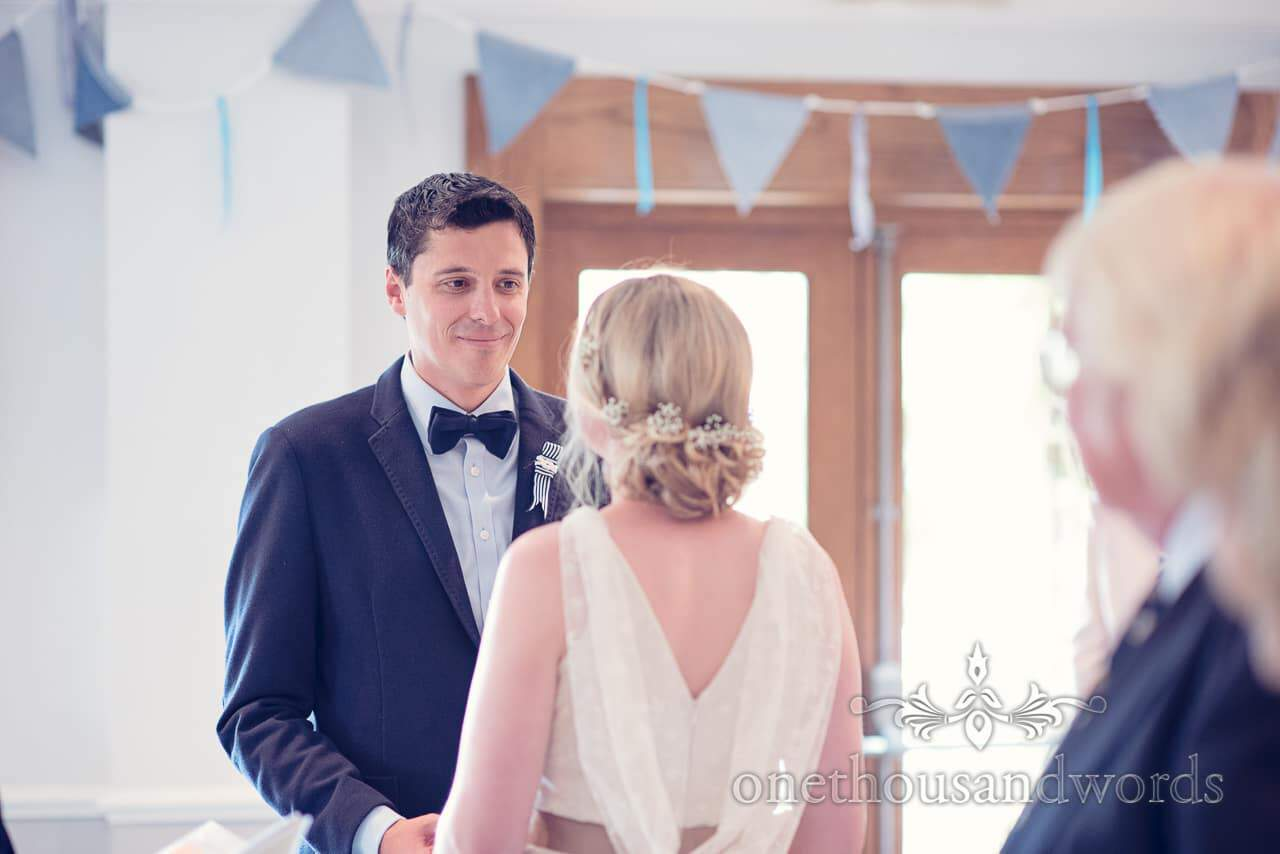 Groom wears bow tie at Balmer Lawn Hotel Wedding ceremony