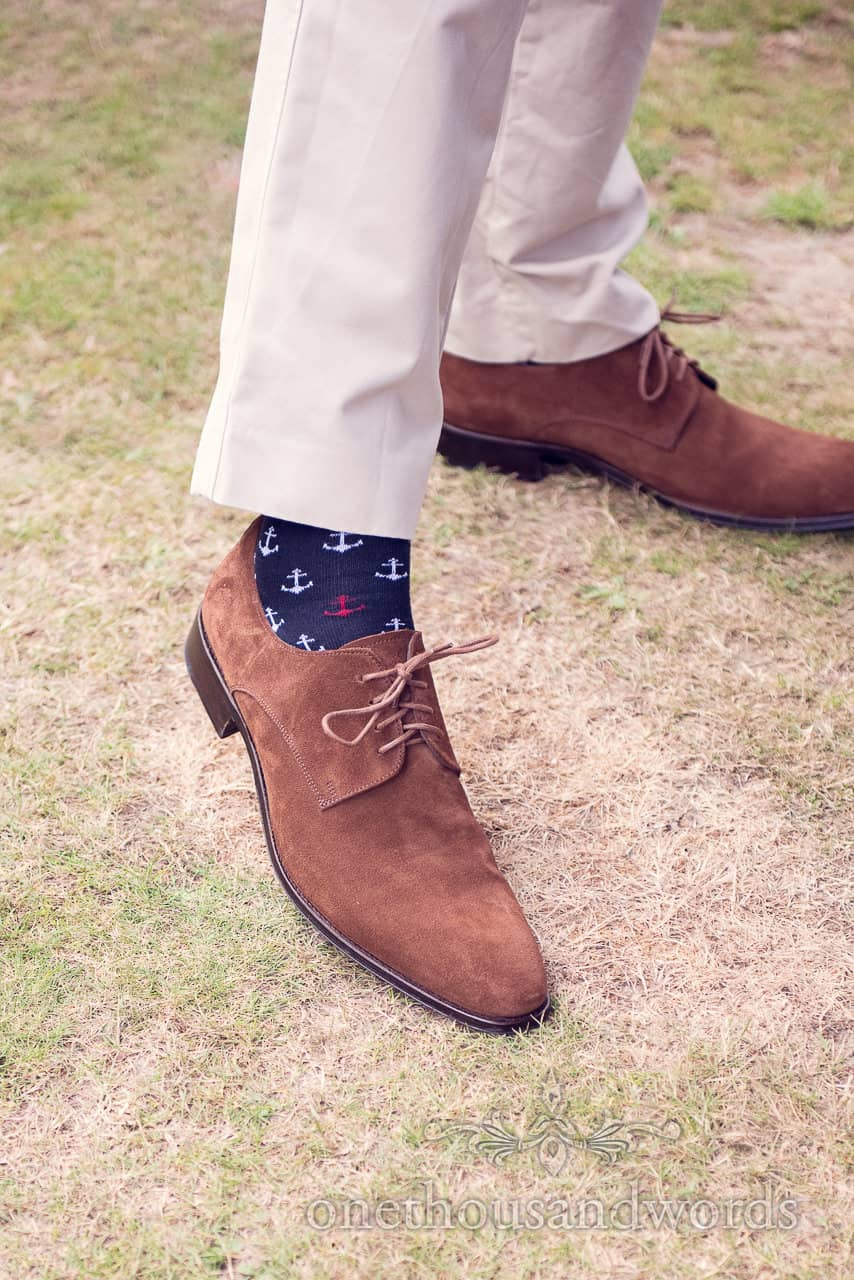 Grooms nautical themed socks with anchors for nautical themed wedding