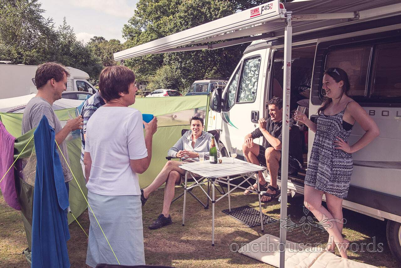 Groom's party on wedding morning in New Forest Camp site