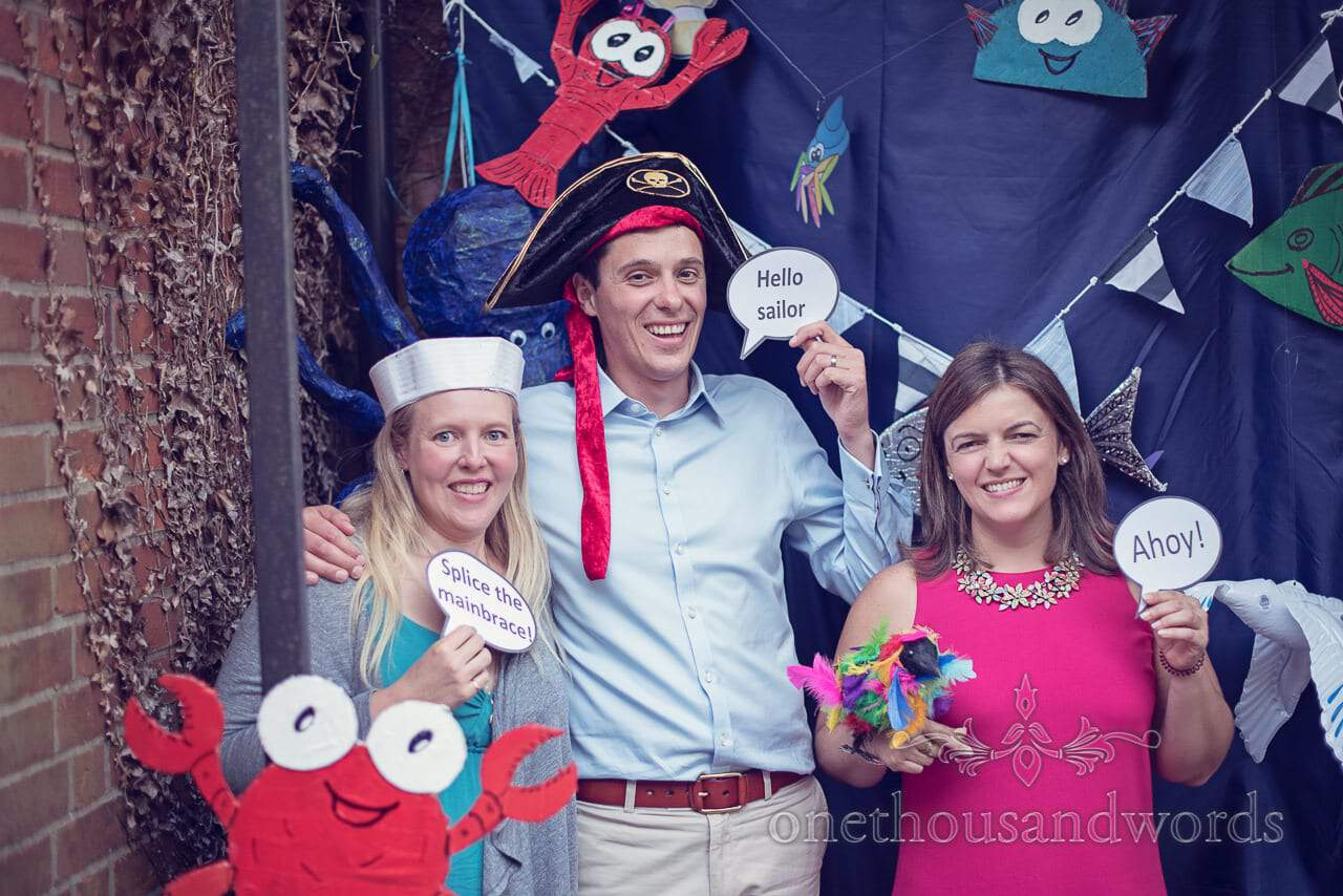 Hand made photo booth with nautical theme at Balmer Lawn Hotel Wedding