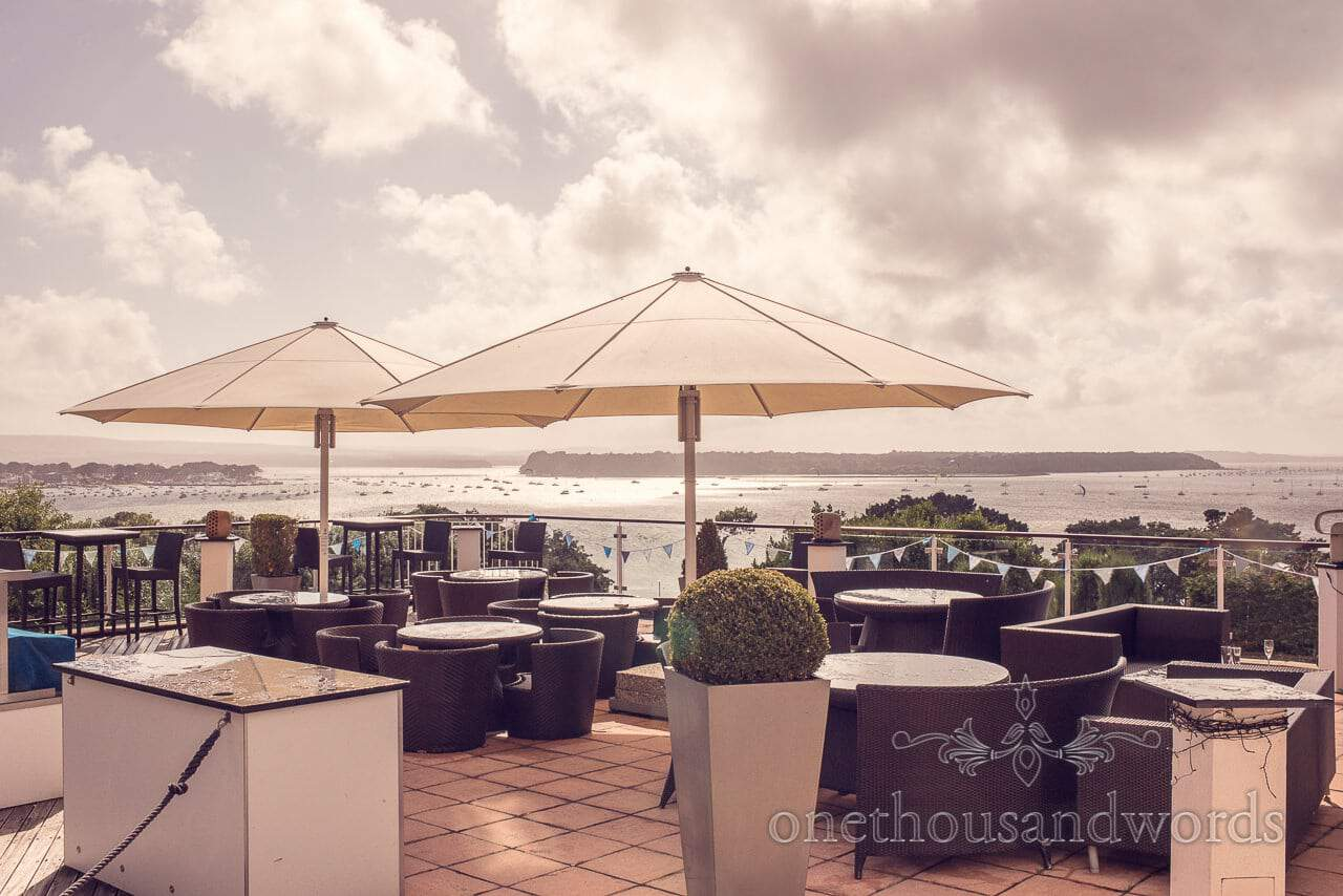 Harbour Heights Hotel Sun Terrace with Poole Harbour views in low evening light