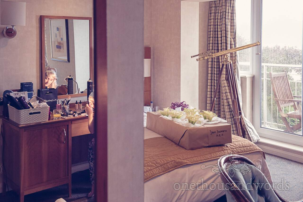 Harbour Heights Hotel Wedding Suite with bride, wedding flowers and telescope