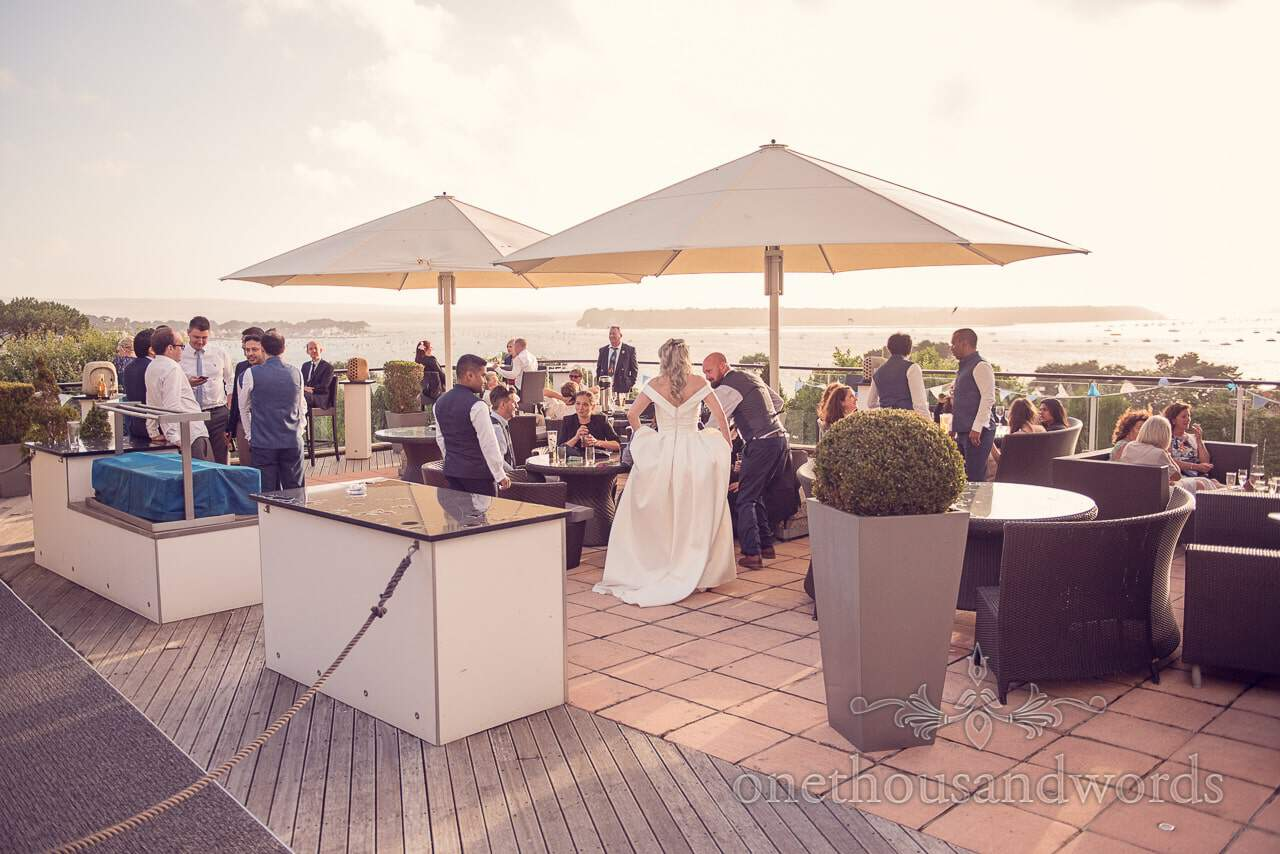 Harbour Heights Hotel Wedding sun terrace with low evening light