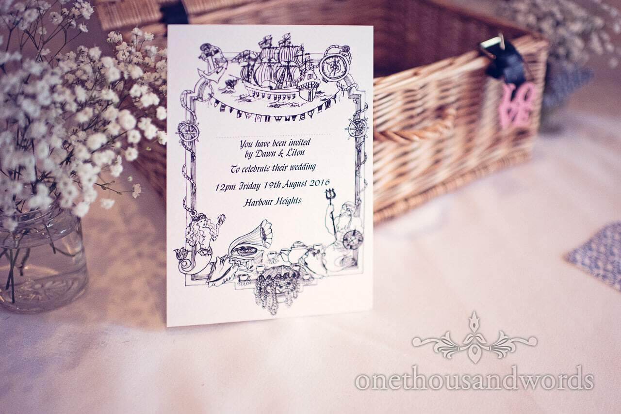 Ink drawing nautical themed wedding invite for Harbour Heights Hotel Wedding