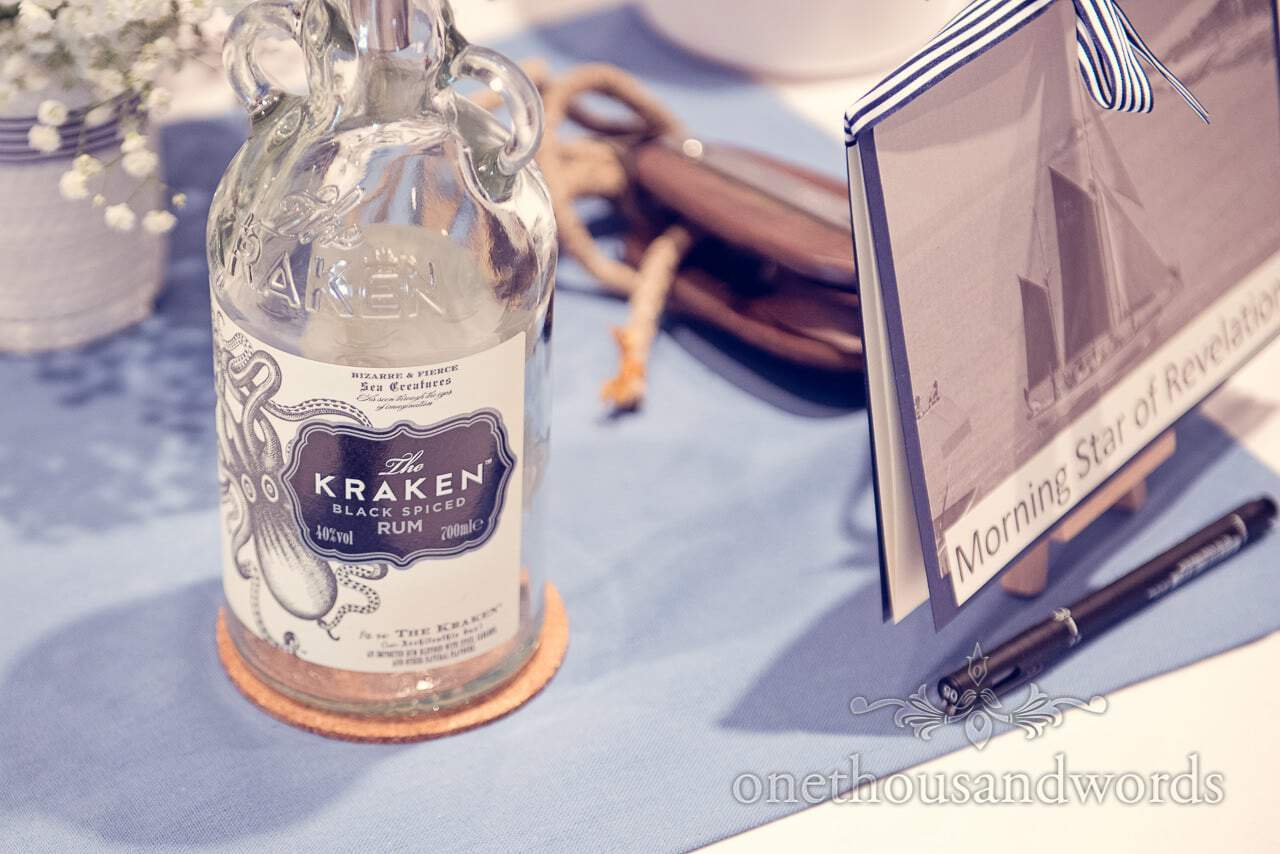 Kraken Rum table decoration at nautical themed wedding