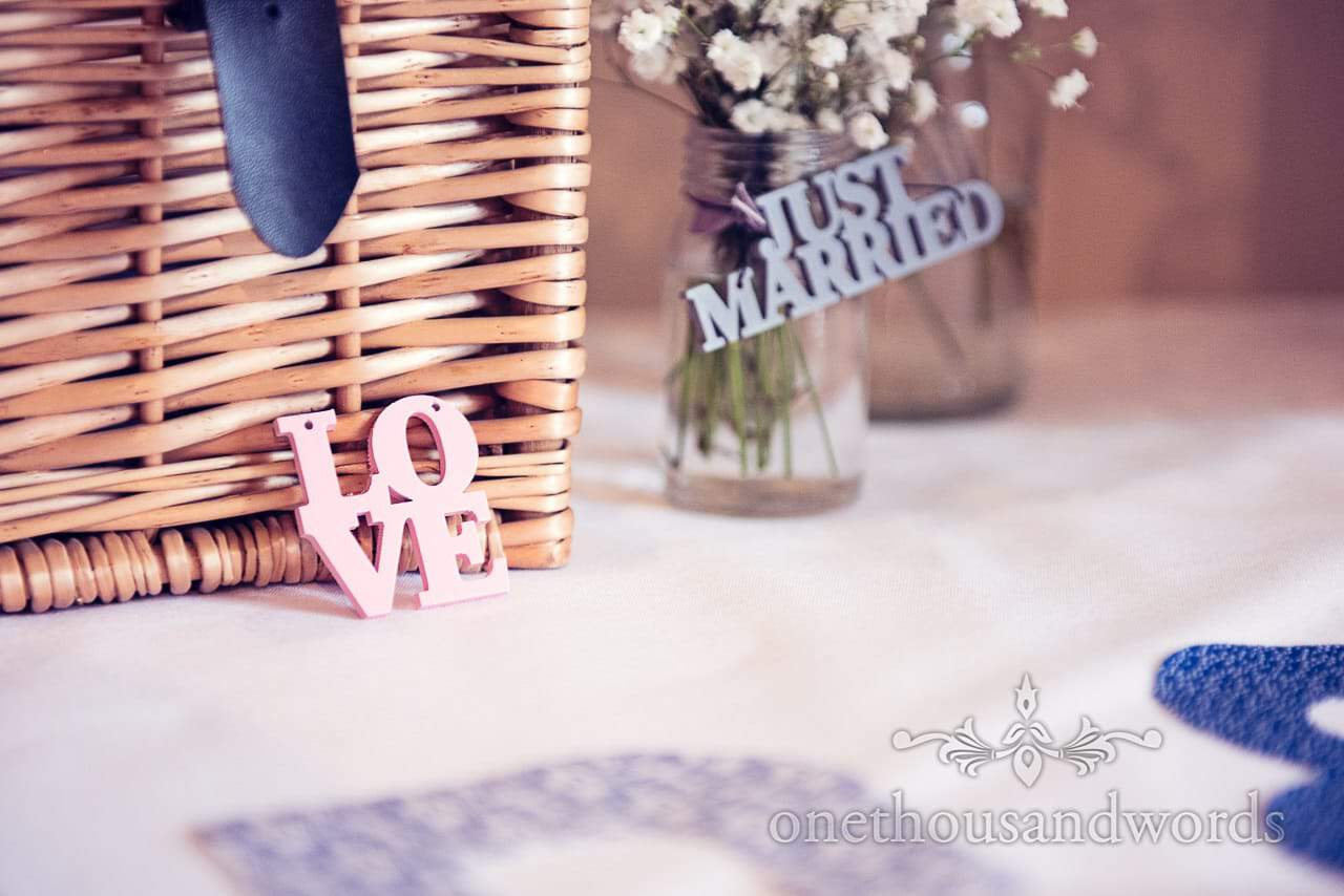 Love and Just Married signs at Harbour Heights Hotel Wedding