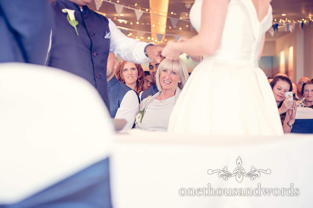 Mother of the bride watches Harbour Heights Hotel Wedding ceremony