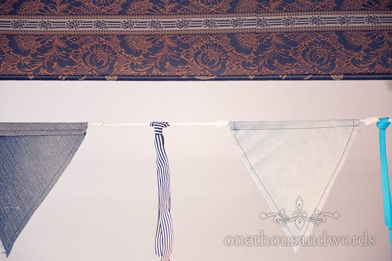 Nautical themed blue and white wedding bunting and ribbons