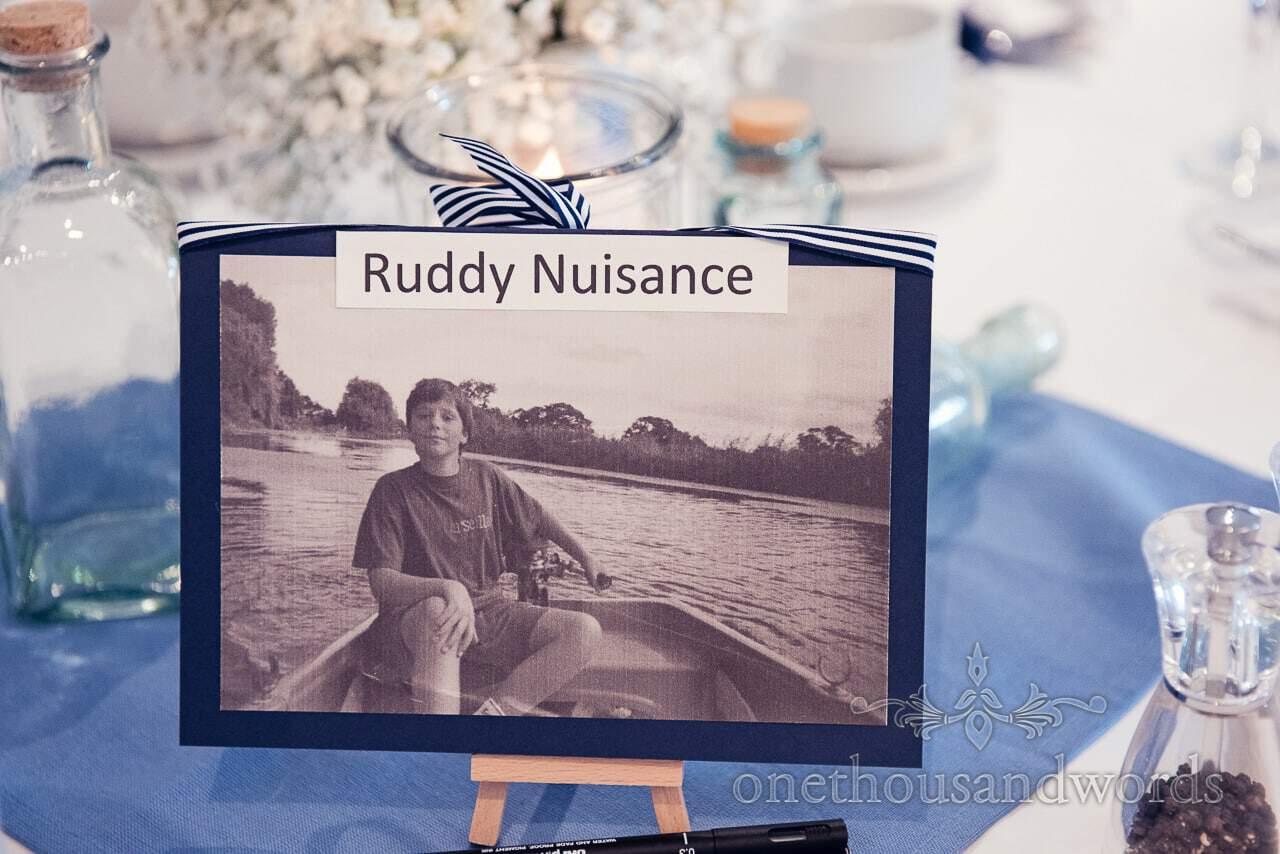 Nautical themed wedding table name and photograph