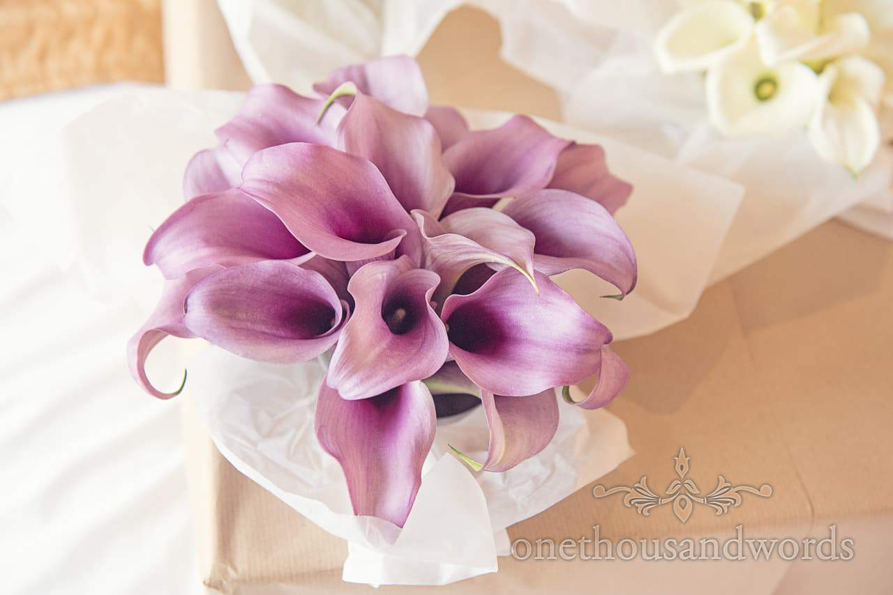Purple wedding lily bouquets from simply flowers wedding florist in Dorset