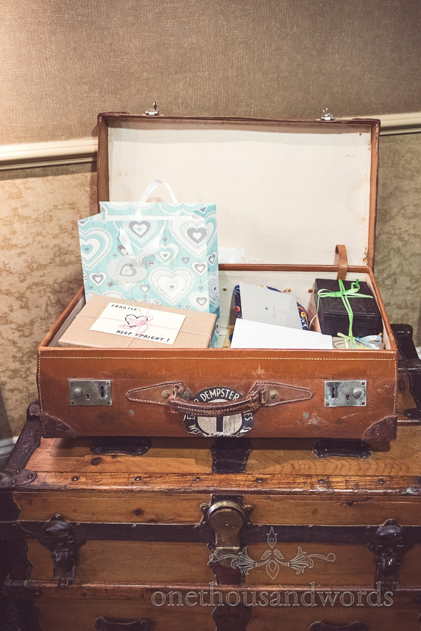 Vintage wedding suitcase and vintage travel chest for wedding cards and gifts
