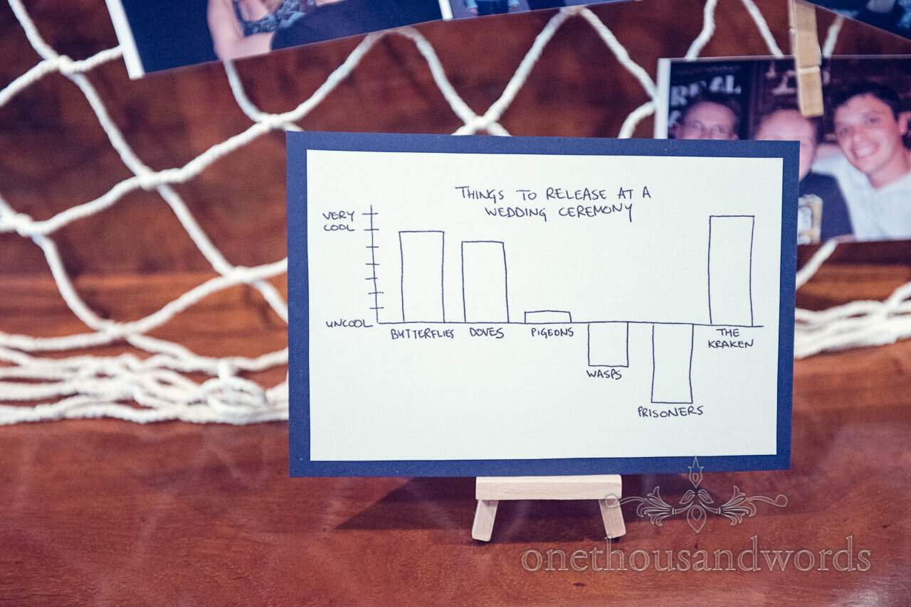 Things to release at a wedding ceremony comedy graph table decoration