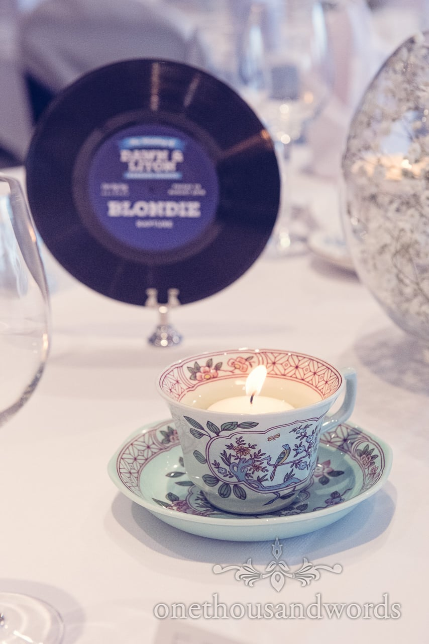 Vintage china tea cup candle wedding table decoration at Harbour Heights Hotel wedding