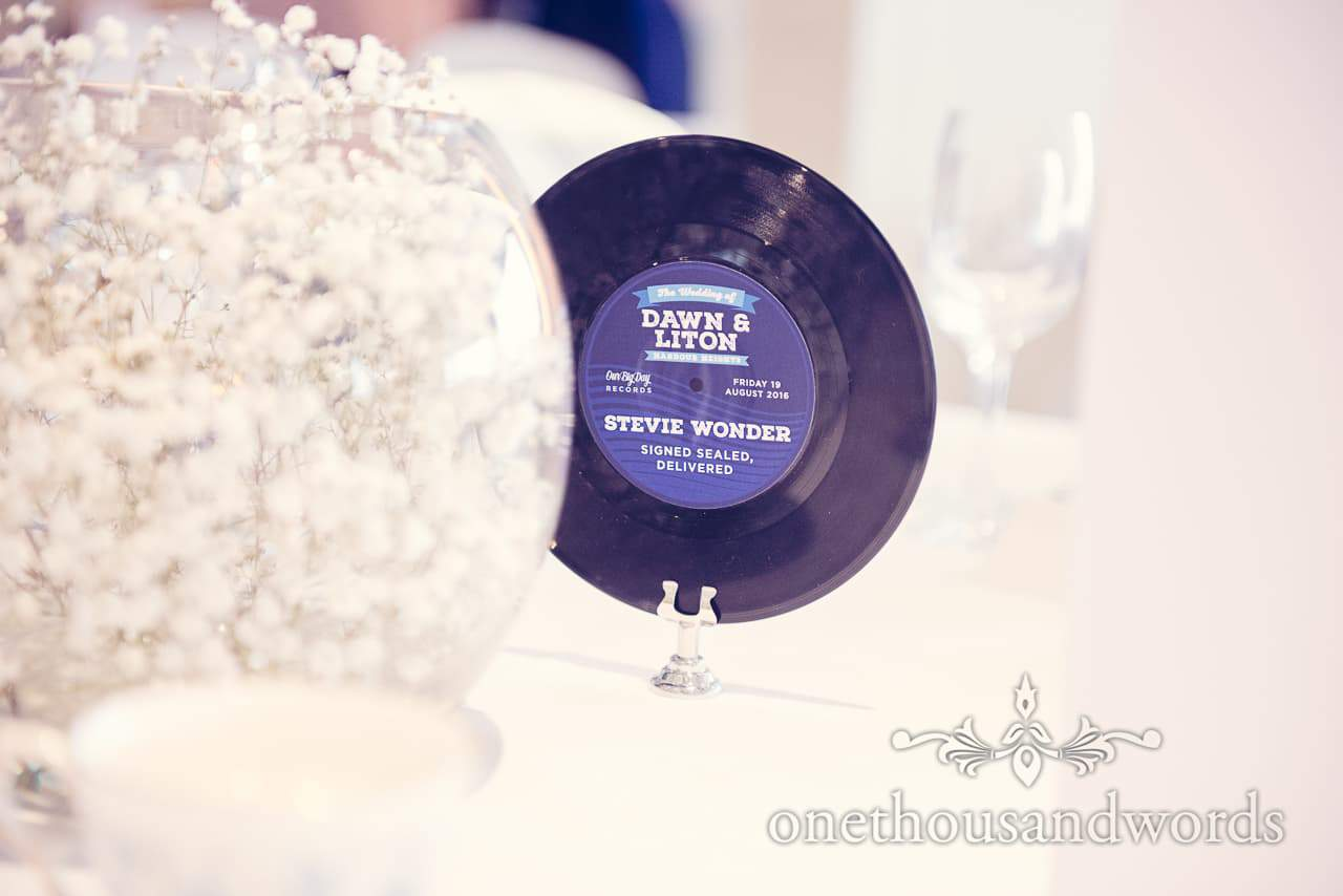 Vinyl record wedding table names at Harbour Heights Hotel Wedding