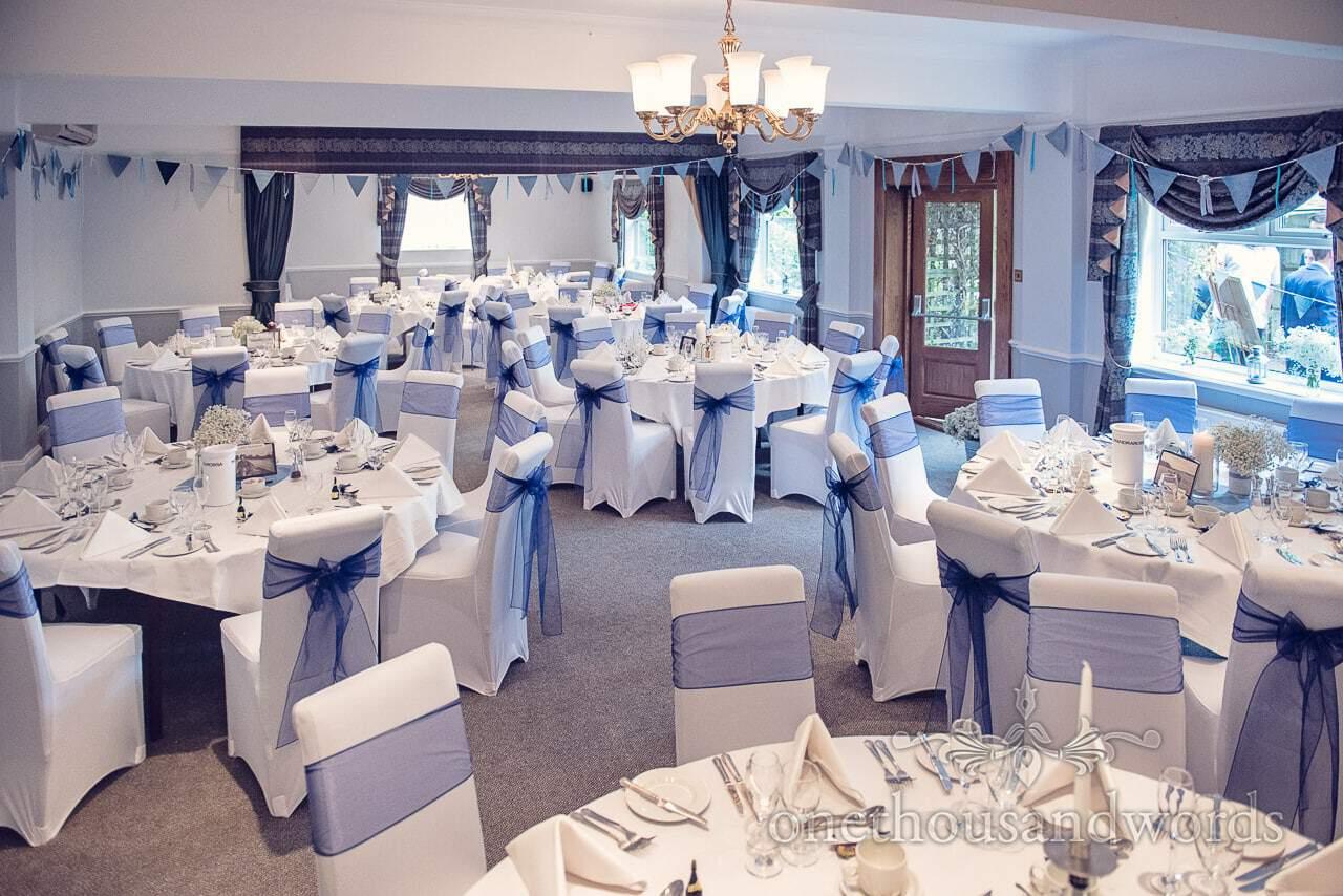 Wedding breakfast room layout at Balmer Lawn Hotel Wedding