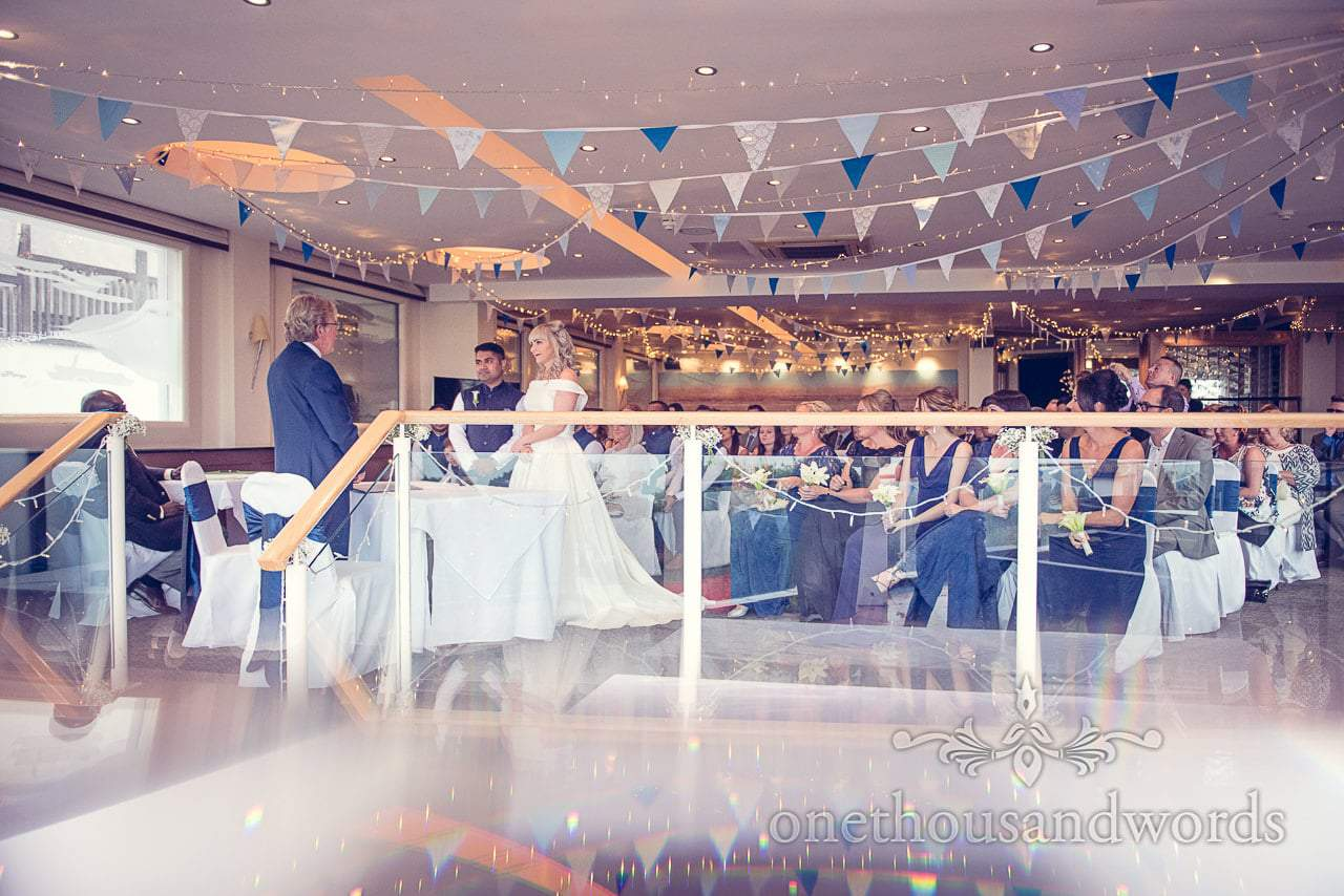 Wedding ceremony photograph at Harbour Heights Hotel blue themed wedding