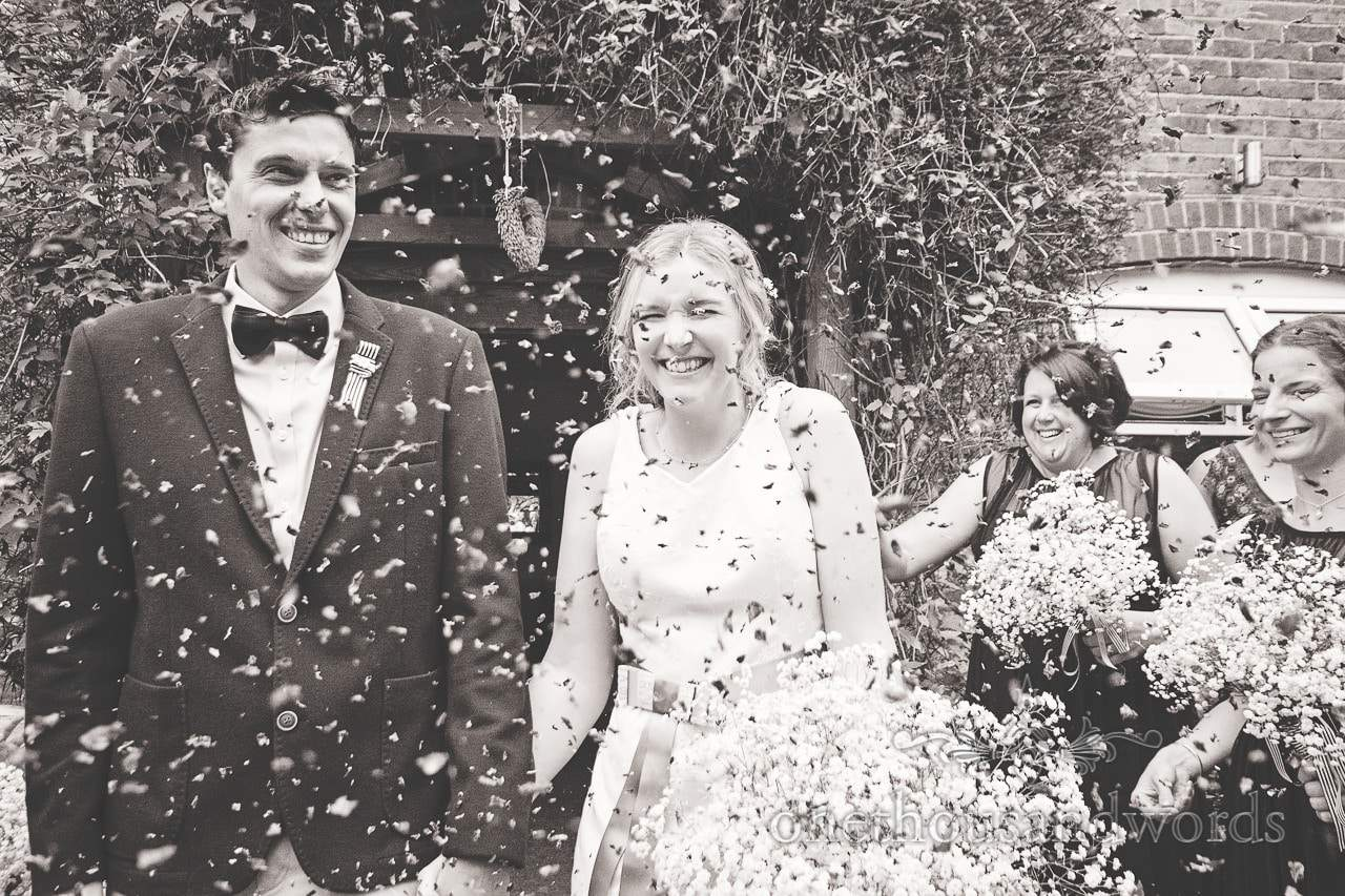 Wedding confetti photograph at Balmer Lawn Hotel Wedding