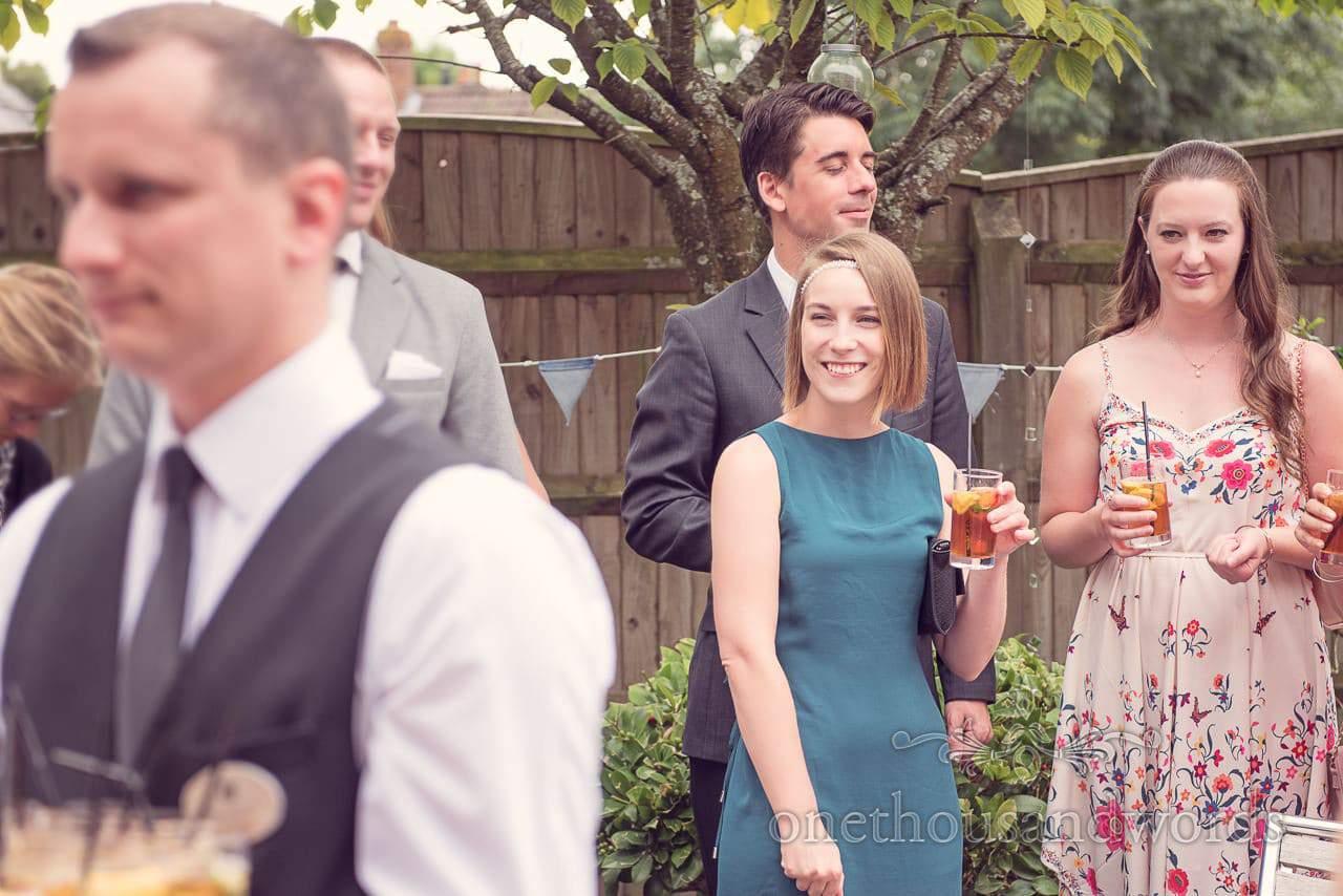 Wedding guests at Balmer Lawn Hotel Wedding drinks reception