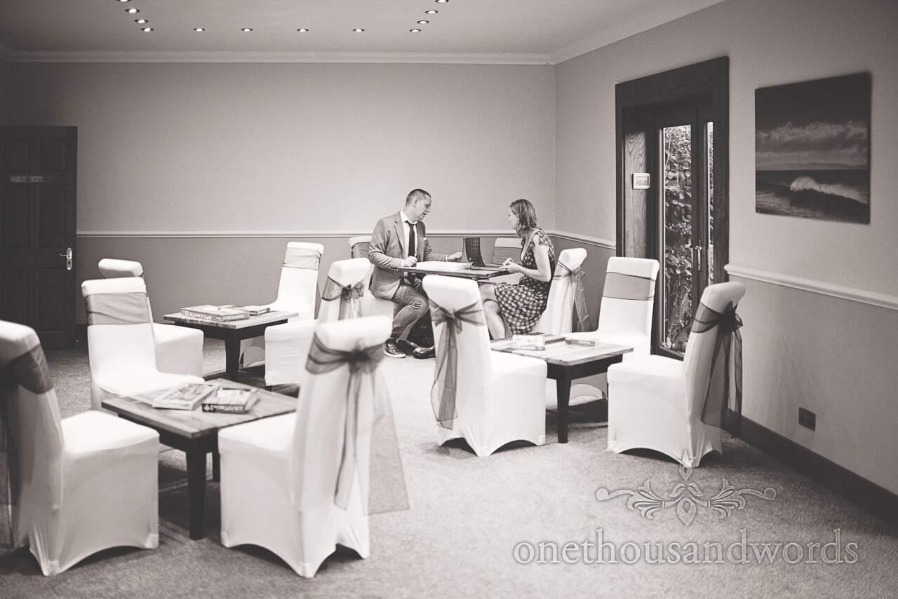Wedding guests play board games at Balmer Lawn Hotel Wedding