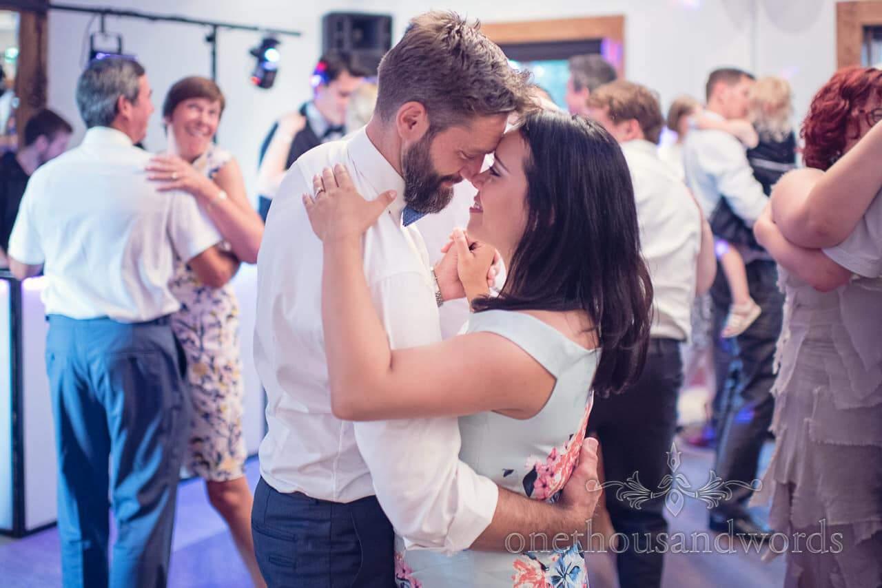 Wedding guests slow dance at Balmer Lawn Hotel Wedding evening reception