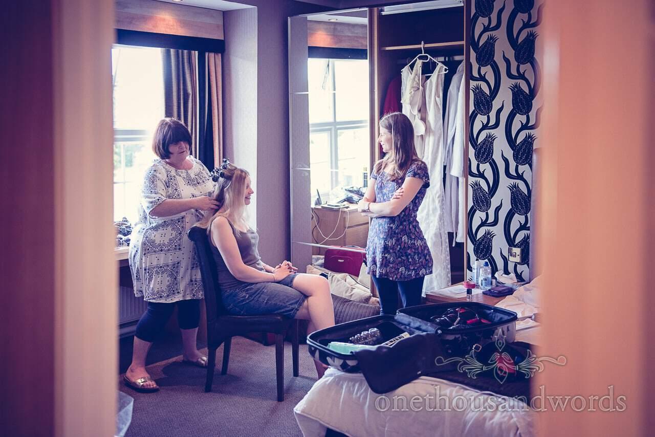 Wedding hair styling at Balmer Lawn Hotel Wedding