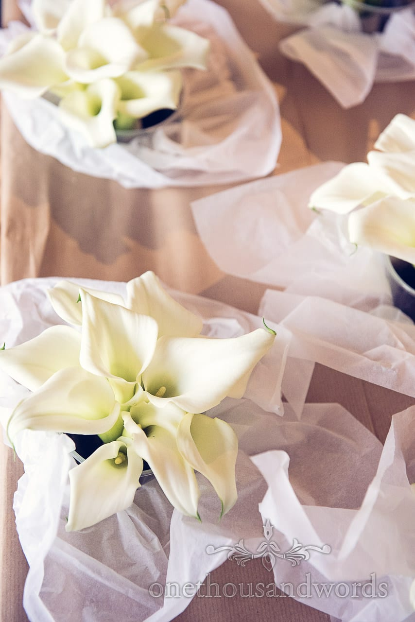 White wedding lily bouquets from simply flowers wedding florist in Dorset