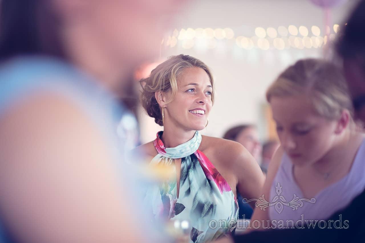 Beautiful wedding guest portrait at Harmans Cross Wedding in Dorset