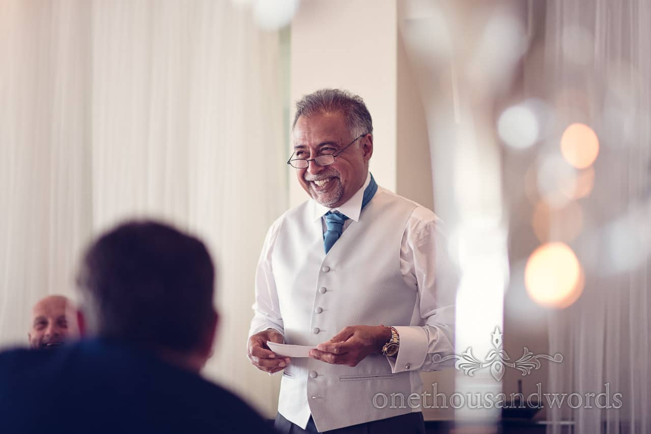 Best man delivers his speech at Harbour heights hotel wedding photographs