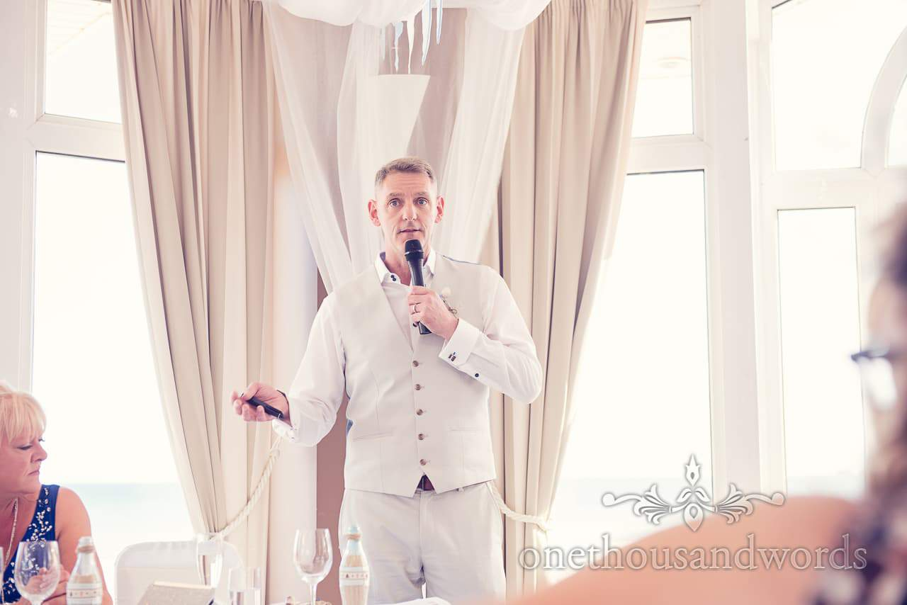 Best man's speech at seaside theme wedding in Dorset