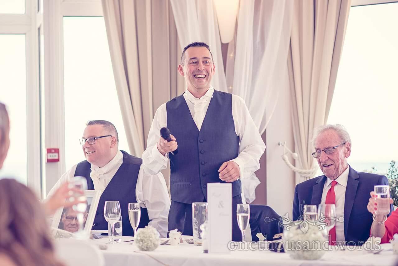 Best man's speech from top table at Sandbanks Hotel Wedding