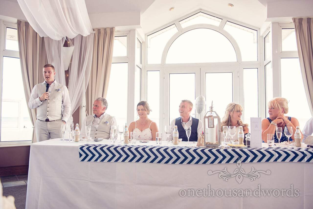 Best man's wedding speech at Sandbanks Hotel Compass Room