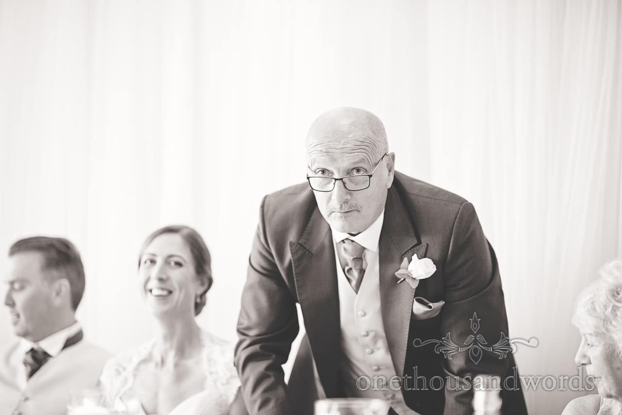 Black and White photograph of Father of the Bride at Harbour heights wedding