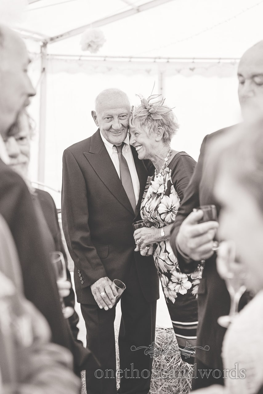 Black and white wedding photography of couple at Harmans Cross Wedding