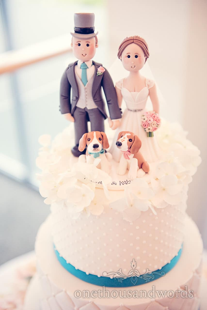 Bride and groom cake topper with beagle dogs at Harbour heights wedding
