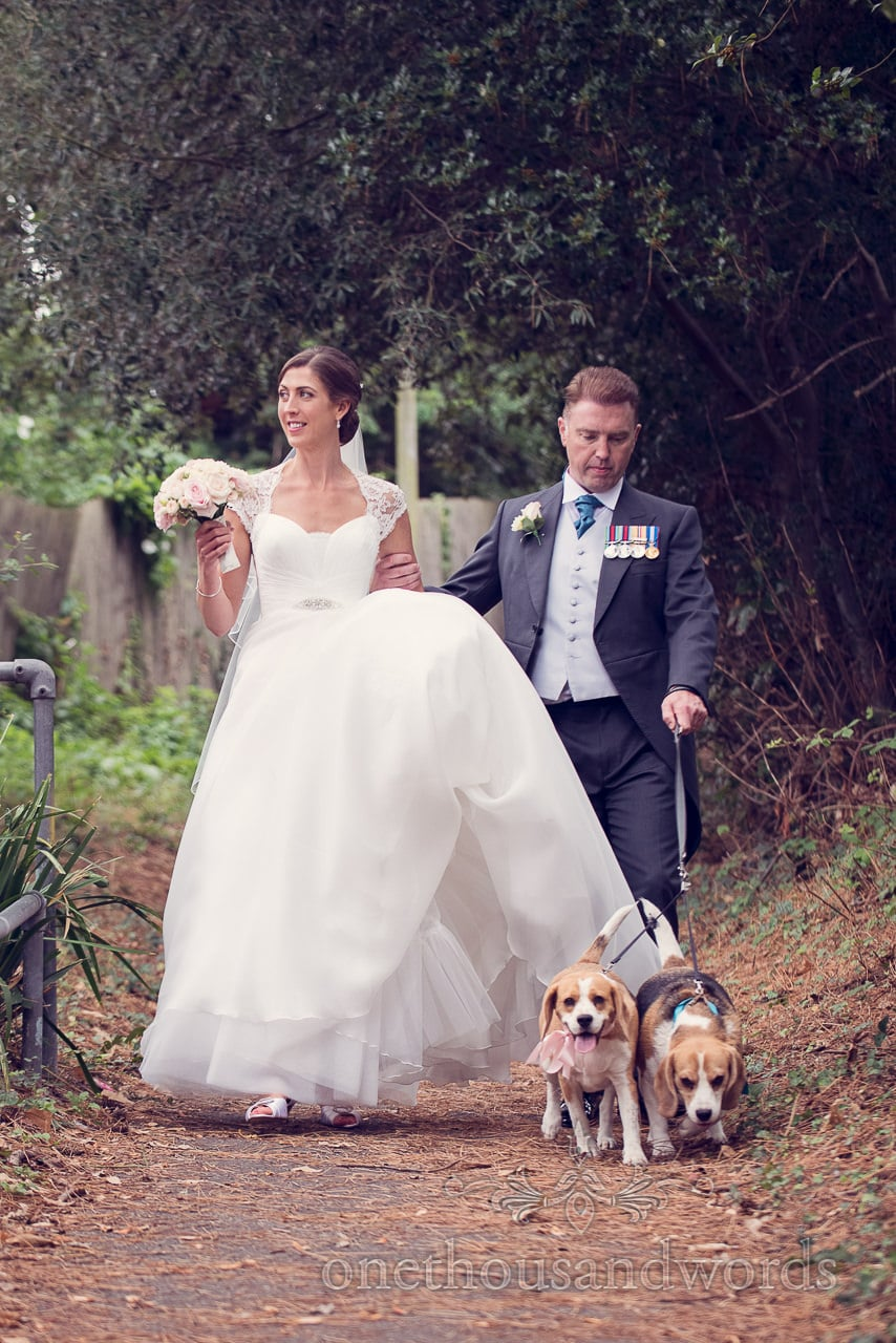 Bride and groom with pet dogs from Harbour Heights wedding